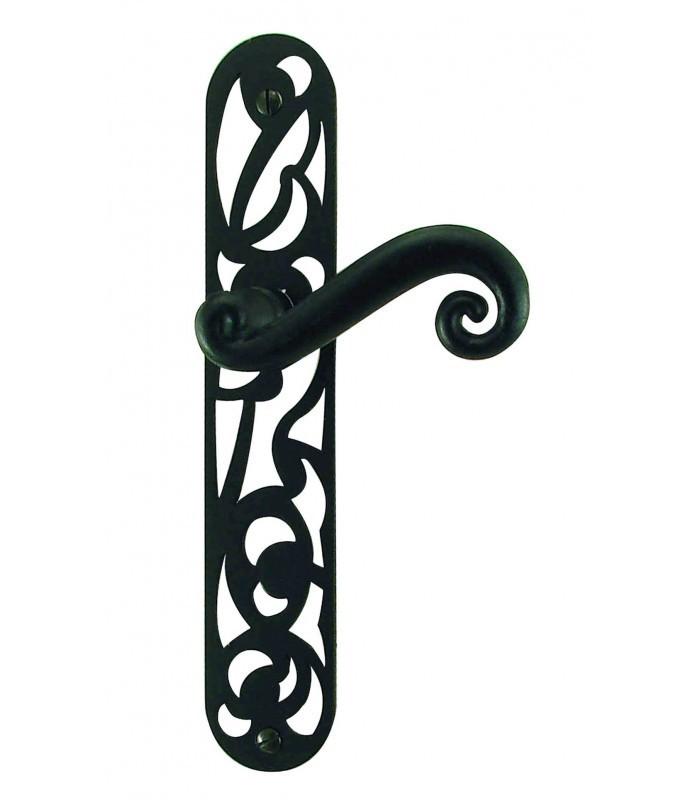 Ensemble de poign e de porte andalousie fer forg noir for Poignee de porte interieure noire