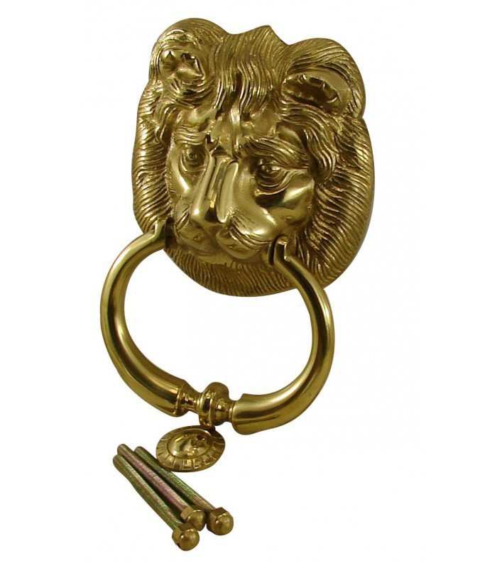 Marteau heurtoir de porte lion laiton massif poli verni - Marteau de porte d entree ...