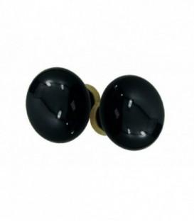 Poignée double ROND D.50 mm pour porte intérieure porcelaine de LIMOGES noir brillant sur laiton  brillant