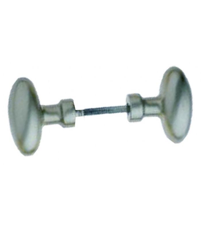 Poign e double ovale laiton nickel satin carr de 6 mm for Poignee de porte carre