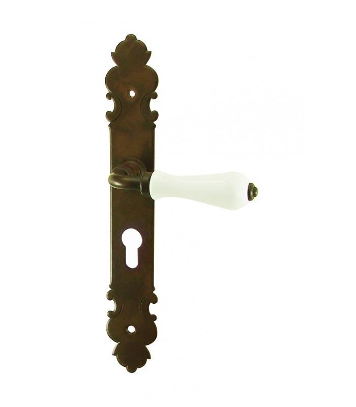 ensemble de poign es de porte le pouliguen trou cylindre fer forg rouill cir et porcelaine. Black Bedroom Furniture Sets. Home Design Ideas