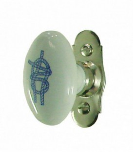 Poignée de fenêtre BORD DE MER porcelaine de LIMOGES sur platine nickelé