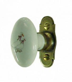 Poignée de fenêtre PERIGORD porcelaine de LIMOGES sur platine laiton vieilli