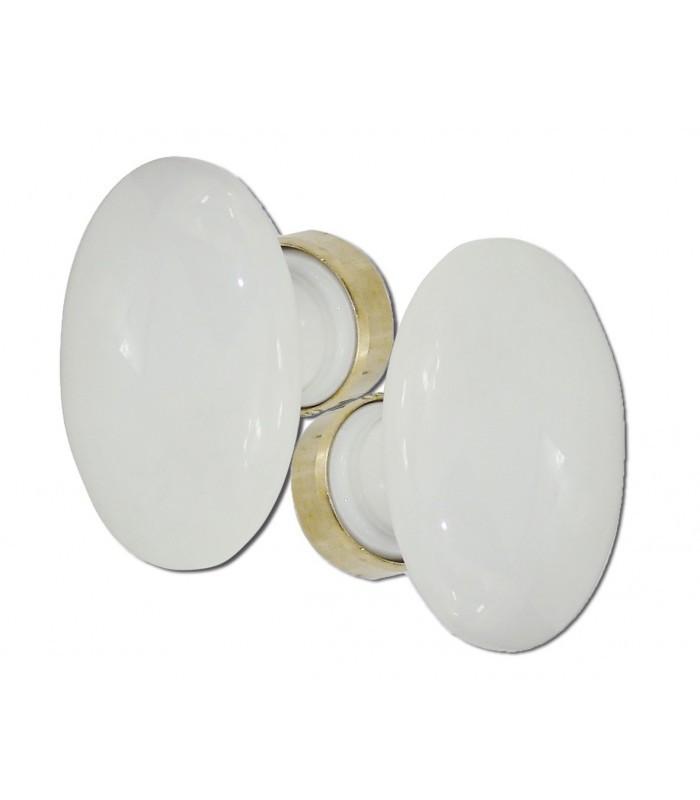 poign e double ovale porcelaine de limoges blanche laiton. Black Bedroom Furniture Sets. Home Design Ideas