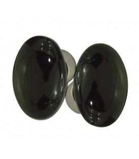 Poignée double OVALE porcelaine de LIMOGES noir brillant sur cuvette nickelée brossée
