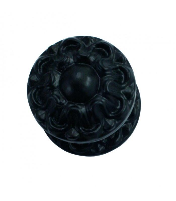 bouton de tirage ou pommeau dalhia fonte noir pour porte d. Black Bedroom Furniture Sets. Home Design Ideas