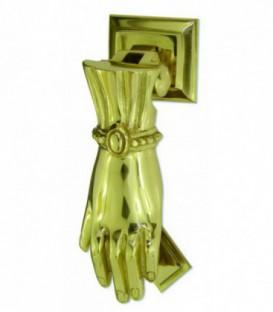 Marteau heurtoir de porte MAIN classique laiton poli verni