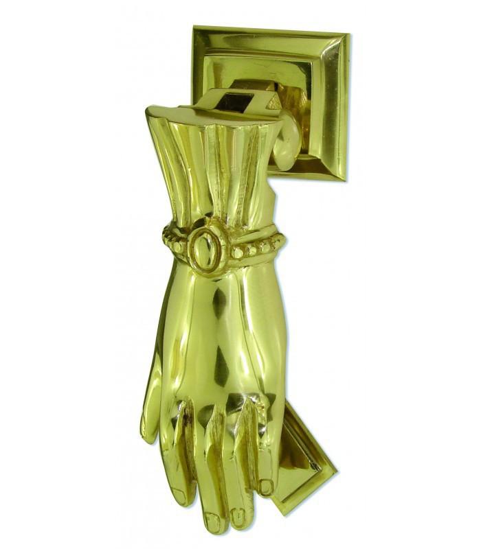 Marteau heurtoir de porte main classique laiton poli verni - Marteau de porte d entree ...