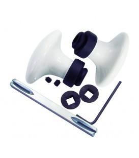Poignée double OVALE porcelaine de LIMOGES blanche sur support noir mat