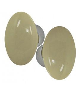 Poignées double OVALE porcelaine Gris Beige/nickelée brossée