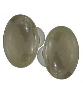 poignées double OVALE porcelaine Gris poivre/nickelée brossée