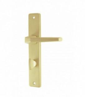 Ensemble de poignées de porte COURCHEVEL à condamnation aluminium epoxy Beige SAHARA 195 mm