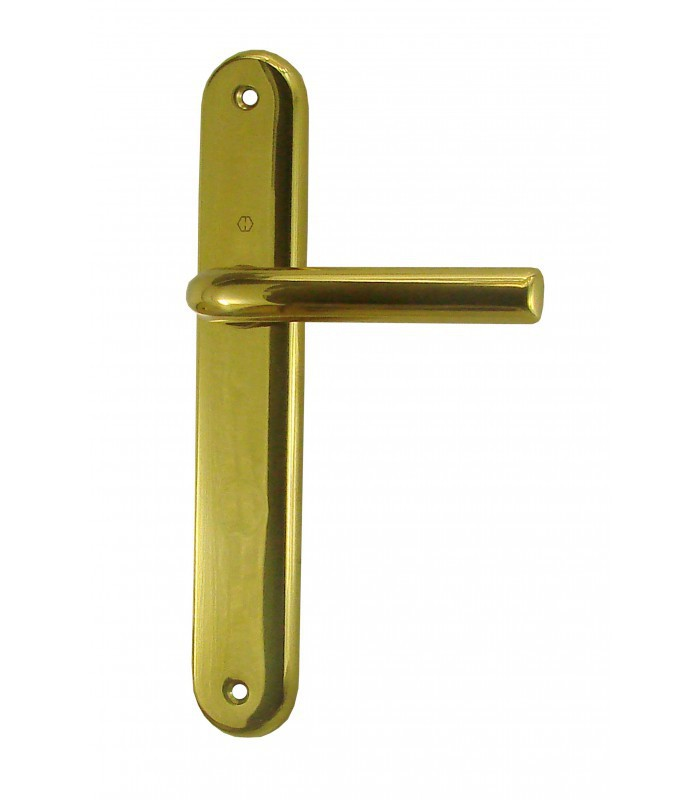 Ensemble de poign es de porte orly sans trou 195 mm laiton for Poignees de porte anciennes laiton