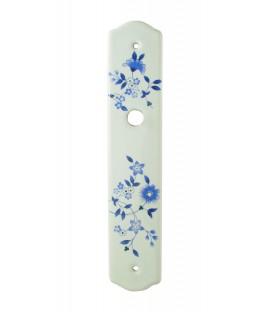Plaque propreté Sans Trou Fleurs Bleues 210 mm porcelaine de LIMOGES blanche
