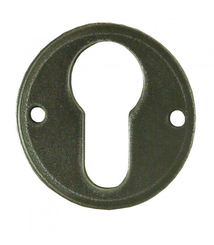 Ensemble de poign e de porte sur rosace provence trou cylindre fer forg gris et porcelaine de for Poignee de porte forge