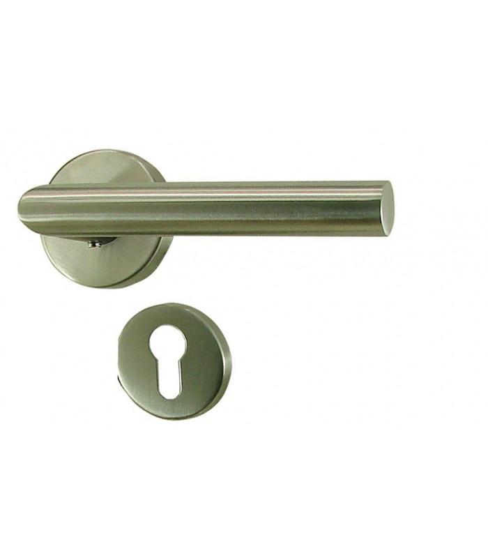 poign e de porte ligne en inox sur rosace trou cylindre 1001poign es votre sp cialiste de la. Black Bedroom Furniture Sets. Home Design Ideas