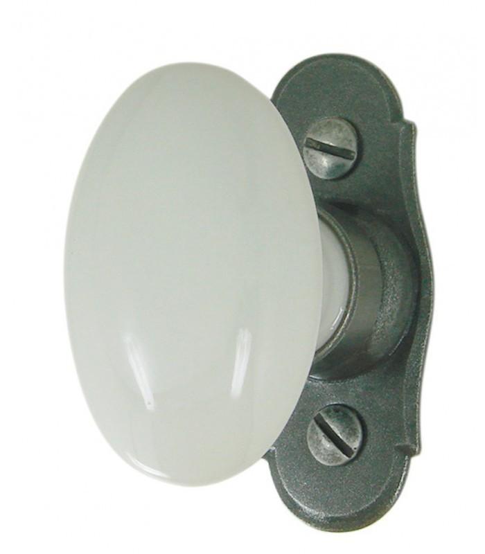 Poign e de fen tre porcelaine de limoges ovale - Poignee de porte fenetre ...