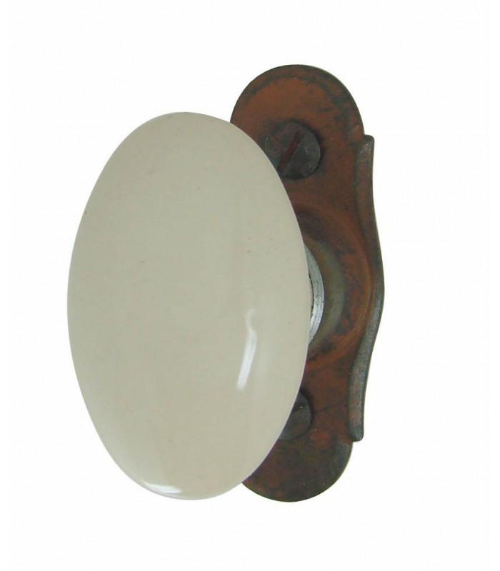 poign e de fen tre porcelaine de limoges ovale beige sur. Black Bedroom Furniture Sets. Home Design Ideas