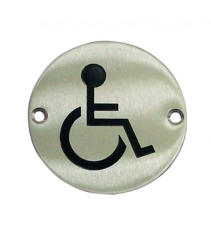 Plaque de porte picto handicap inox bross for Plaque inox brosse