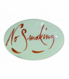 """Plaque signalétique """"No smoking"""" lettrage sanguin porcelaine de LIMOGES"""