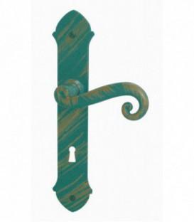 Ensemble de poignées de porte + bouton de fenêtre AZR en acier vert/or