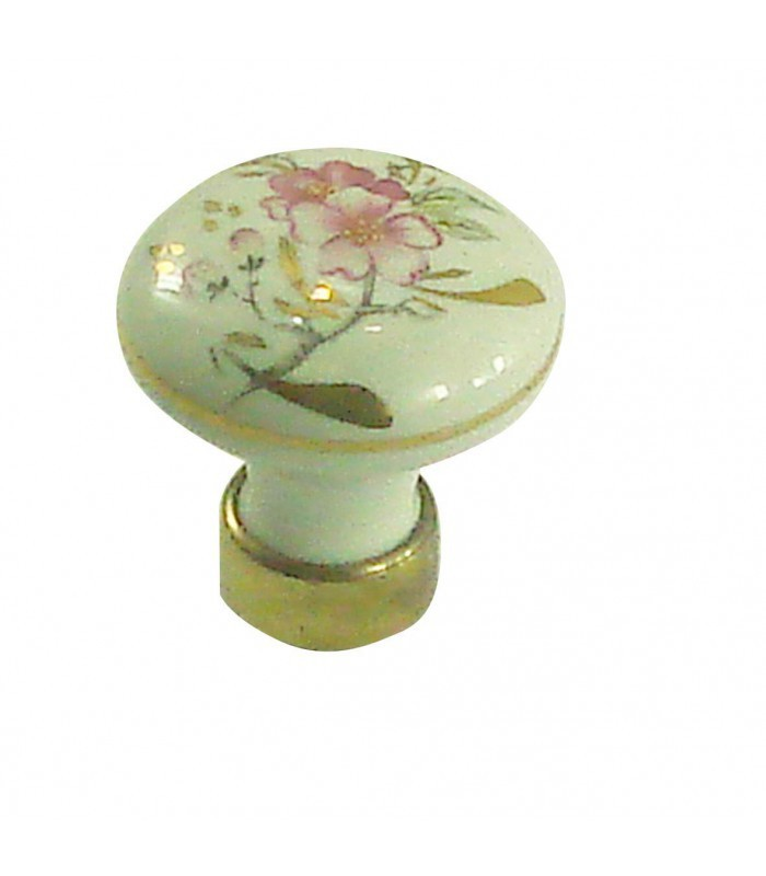 Bouton De Meuble En Porcelaine Filet Or Motif Fleur D
