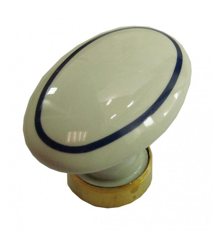 bouton simple ovale en porcelaine blanc filet bleu marine. Black Bedroom Furniture Sets. Home Design Ideas