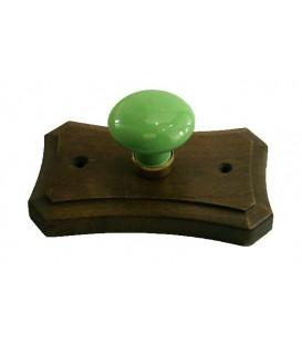 Porte manteau support en bois, bouton en porcelaine VERT