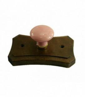 Porte manteau support en bois, bouton en porcelaine ROSE