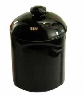 Boite à coton BLACK en porcelaine de LIMOGES