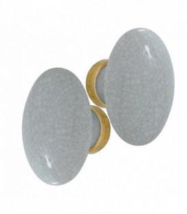 Poignée double OVALE pour porte intérieure porcelaine de LIMOGES Gris craquelé sur laiton poli