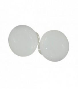 Poignée double ROND D.50 mm pour porte intérieure porcelaine de LIMOGES Blanc sur laiton nickelé brillant