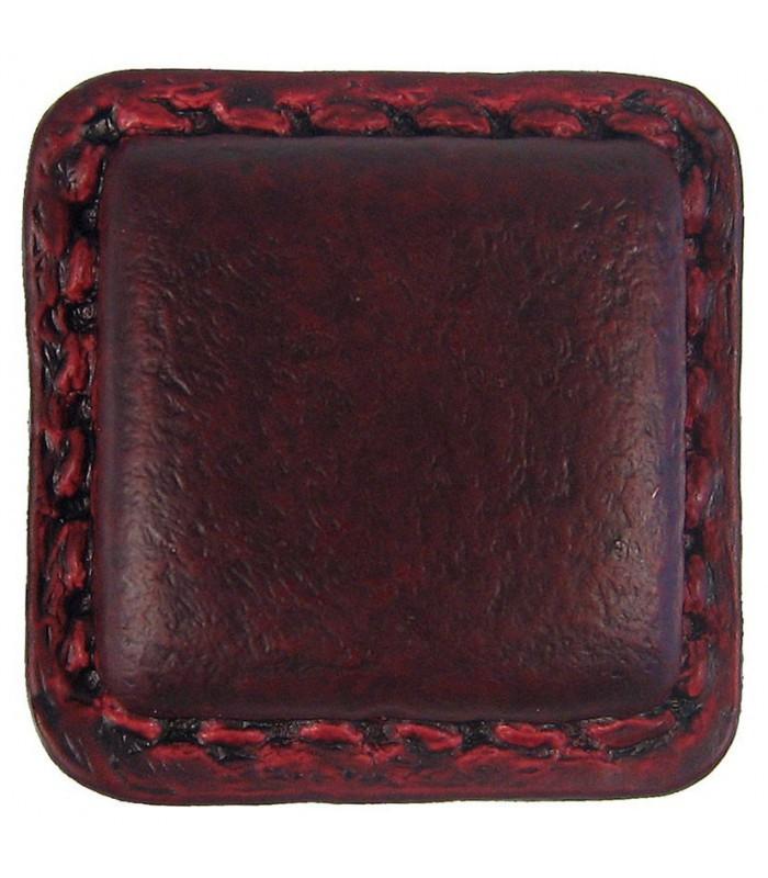 bouton de meuble carr en cuir marron 1001poign es. Black Bedroom Furniture Sets. Home Design Ideas