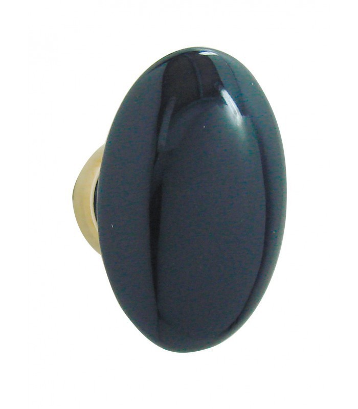 bouton simple ovale bleu de four en porcelaine. Black Bedroom Furniture Sets. Home Design Ideas