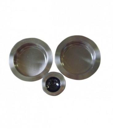 Poignée à encastrer 52 mm Nickelé satiné acier pour porte coulissante ou galandage
