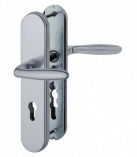Ensemble de poignées de porte de sécurité, avec deux béquilles de manœuvre aluminium argent