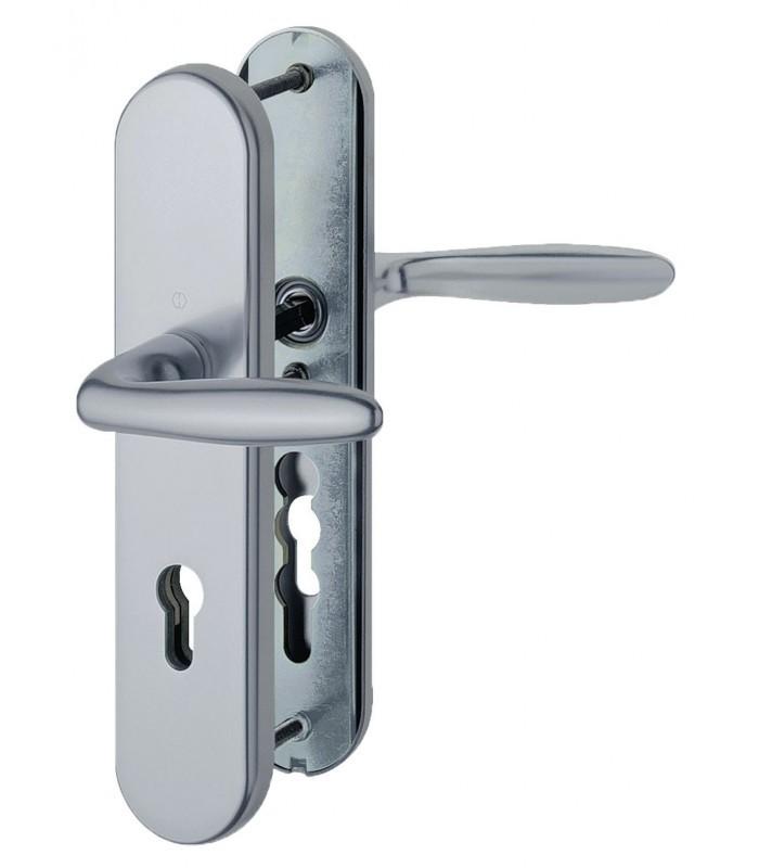 Ensemble de poign es de porte de s curit avec deux b quilles de man uvre aluminium argent - Poignee porte securite ...