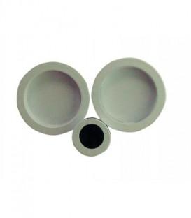 Poignée à encastrer 52 mm blanc acier pour porte coulissante ou galandage