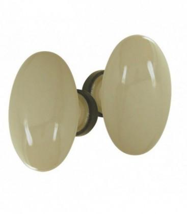 Poignée double OVALE pour porte intérieure porcelaine de LIMOGES beige rouillé