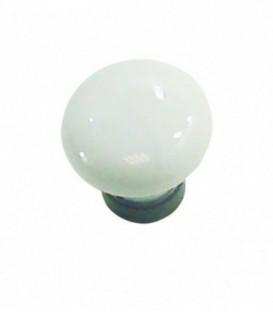 Bouton de meuble D.30mm Porcelaine blanc base fer cémenté