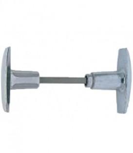 Poignée double aluminium brut carré de 6 mm