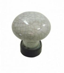 Bouton de meuble D.30mm Porcelaine blanc craquelé gris base fer cémenté