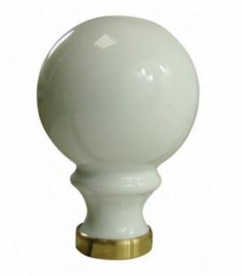 Boule de rampe d'escalier blanche ø 80 mm en porcelaine de Limoges sur embase laiton