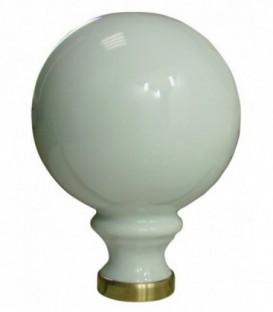 Boule de rampe d'escalier blanche ø 100 mm en porcelaine de Limoges sur embase laiton