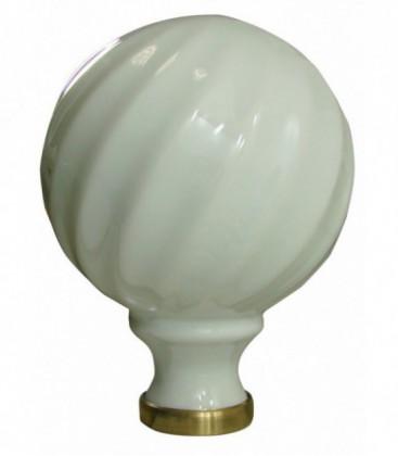 Boule de rampe d'escalier  torsadé blanche ø 100 mm en porcelaine de Limoges sur embase laiton