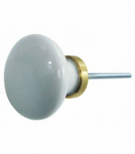Bouton de tirage D.70 mm porcelaine de Limoges blanche