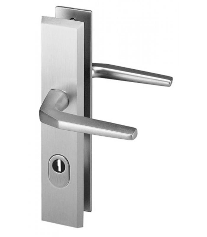 ensemble de poignes de porte de scurit alpha avec deux bquilles de manuvre aluminium argent