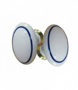 Poignée double OVALE pour porte intérieure porcelaine de LIMOGES filet bleu sur laiton poli