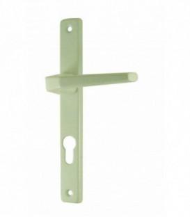 Ensemble de poignées de porte plaque étroite COURCHEVEL trou cylindre aluminium epoxy blanc 195 mm
