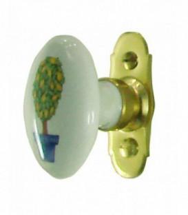 Poignée de fenêtre LEMON YELLOW porcelaine de LIMOGES sur platine laiton poli